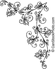 Baroque Pattern vignette - Eau-forte black-and-white swirl...