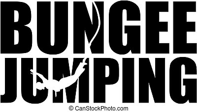 Bungee jumping word with silhouette cutout