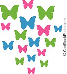 Butterflies in three colors