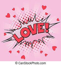 Valentine card popart love
