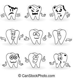 Set of nine characters of funny cartoon teeth - Set of nine...