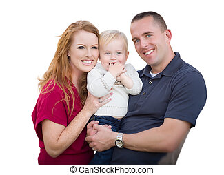 Young Military Parents and Child On White