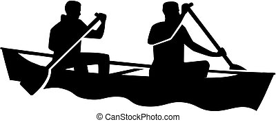 Two man in a canoe. Canoeing.