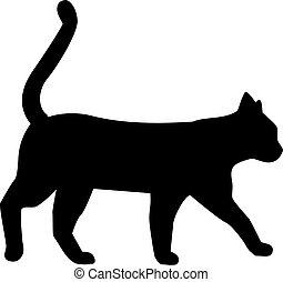 Silhouette walking cat