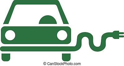 Green e-car icon with plug