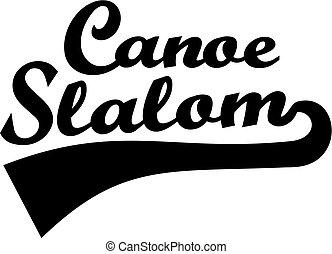 Canoe slalom word retro