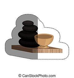 Stones of spa center design - Stones icon. Spa center...
