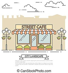 Street cafe with lamps, flowers on city background Line art...