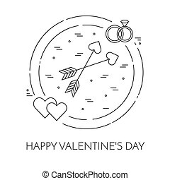 Line thin icons banner for Saint Valentine's day