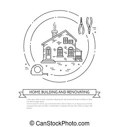 House remodel horizontal banner with building tools Line art...