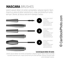 Mascara fashion infographic with realistic vector cosmetic objects