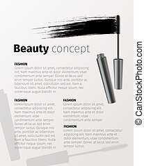 Mascara fashion banner, template for advertising or magazine page. Realistic cosmetic objects