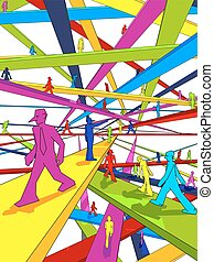 labyrinth of Bridges - endless and colorful labyrinth of...