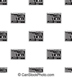 Motherboard icon in black style isolated on white...