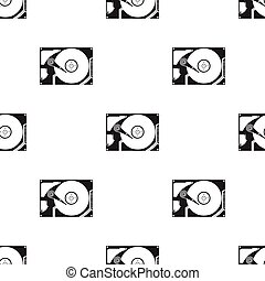 Hard disk icon in black style isolated on white background....