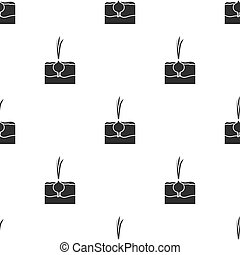 Onion icon in black style isolated on white background. Plant pattern stock vector illustration.