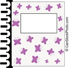 Writing book with pink butterflies  on white background