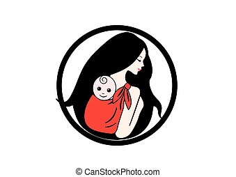 Mother and baby - Mother and a cute baby in the red scarf...