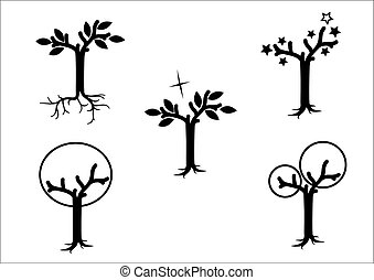 Magical trees -black on white background -vector