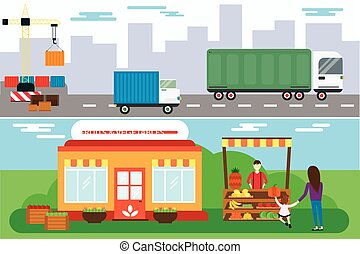 Street seller with stall fruits and truck cargo city transportation vector illustration.