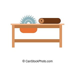 Vector illustration chainsaw working tool. - Vector...
