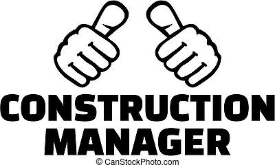 Construction manager with thumbs. T-Shirt Design.