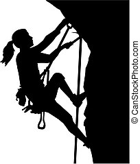 Female climber silhouette in ropes an a rock