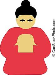 Chinese praying woman icon