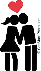 Kissing couple in love icon