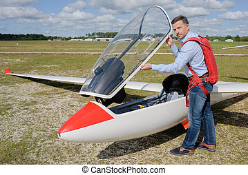 Man about to get into glider
