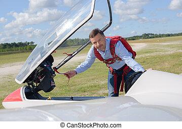 pilot boarding jet
