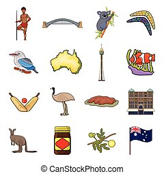 Australia set icons in cartoon style. Big collection of...