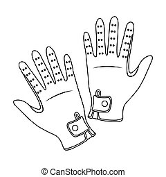 Jockey s gloves icon in outline style isolated on white...