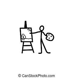 Artist stick figure - Artist man stick figure vector