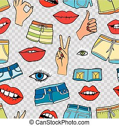 pattern with fashion patch badges - Seamless pattern with...