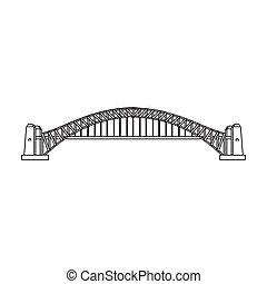 Sydney Harbour Bridge icon in outline style isolated on...