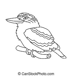 Kookaburra sitting on branch icon in outline style isolated...