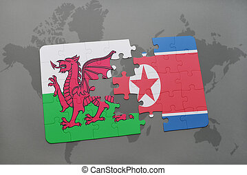 puzzle with the national flag of wales and north korea on a...
