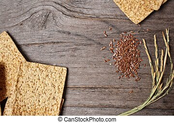 Whole grain cracker with flaxseed