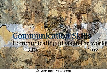 Communication skills text on wall