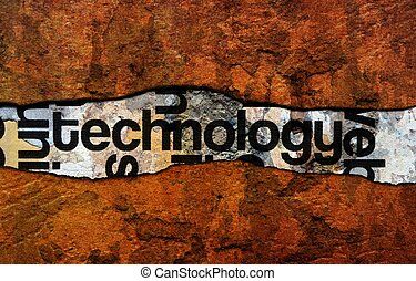 Technology text on wall