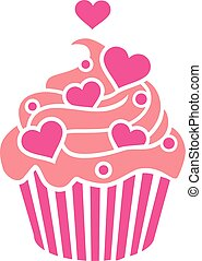 Cupcake with pink hearts on cream