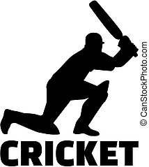 Cricket player with word