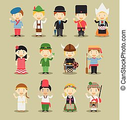 Kids and nationalities of the world vector: Europe Set 1. Set of 13 characters dressed in different national costumes.