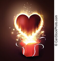 Box With Heart in retro style - Box With Heart with flame...