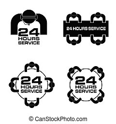 24 hour service with people icon set illustration in black color