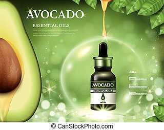 Avocado essential oil ads, fruit anatomy on the left side...