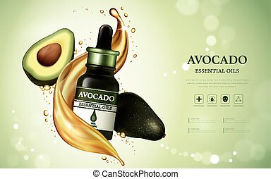 Avocado essential oil ads, fruit anatomy with oil texture...