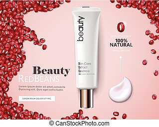 Red beans cosmetic cream ads, plastic tube with beans and...