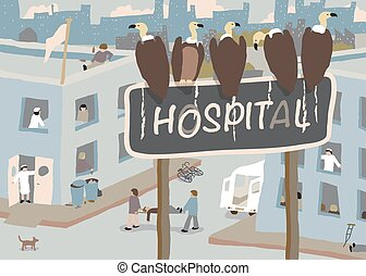 Hospital vultures - Illustration of a flock of vultures...